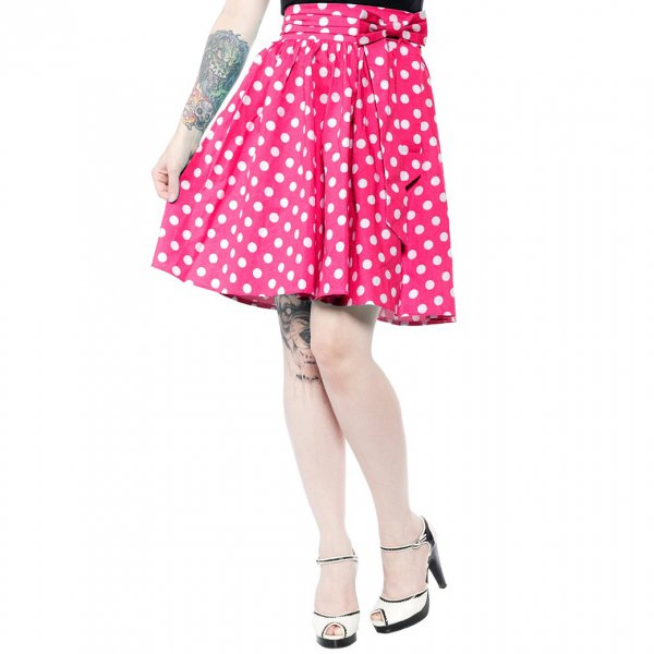 30%OFF【SOURPUSS】POLKA DOT SWING SKIRT PINK(サイズ:S/日本サイズ11号程度)