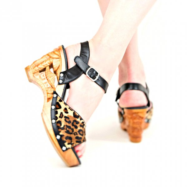 【Lucky Lou Shoes】Souvenir Black Leathr And Leopard Ankle Strap