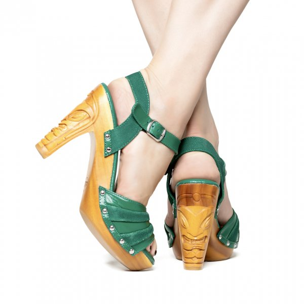 【Lucky Lou Shoes】Rockin'Tiki Green Leather Ankle Strap
