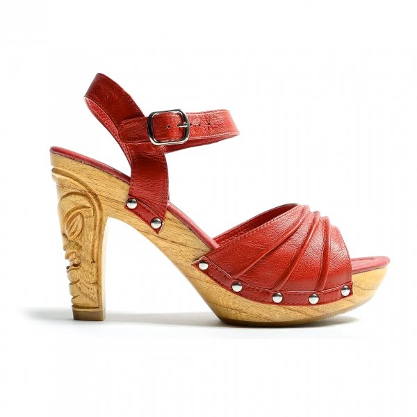 【Lacky Lou Shose】Rockin'Tiki Red Leather Ankle Strap