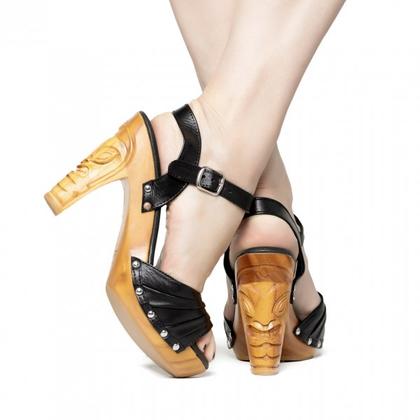 【Lucky Lou Shoes】Rockin'Tiki Black Leather Ankle Strap
