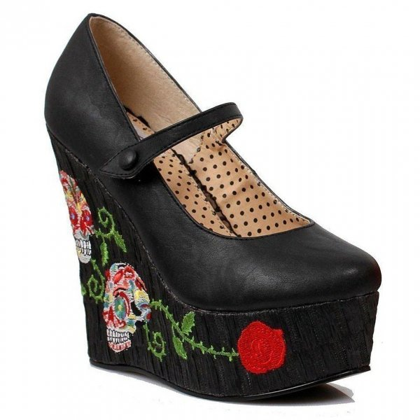 【Bettie Page Shose】Calavera Wedge Pump Black BP475
