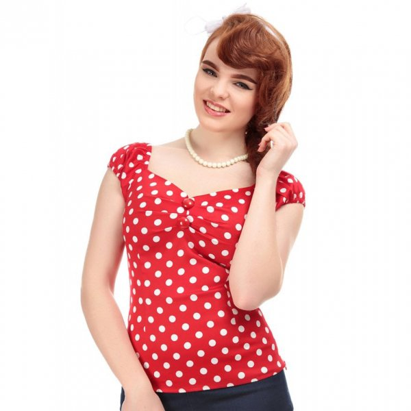 【Collectif】Dolores Top Polka Red White UK12/Mサイズ(11号程度)