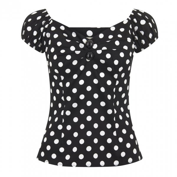 【Collectif】Dolores Top Polka Black White UK14/Lサイズ(13号程度)