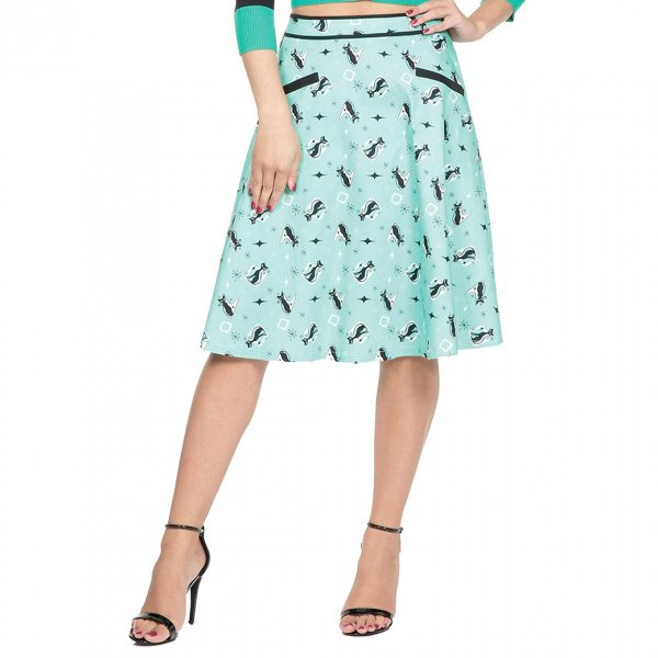 【Voodoo Vixen】Emma Mint Kitty Skirt