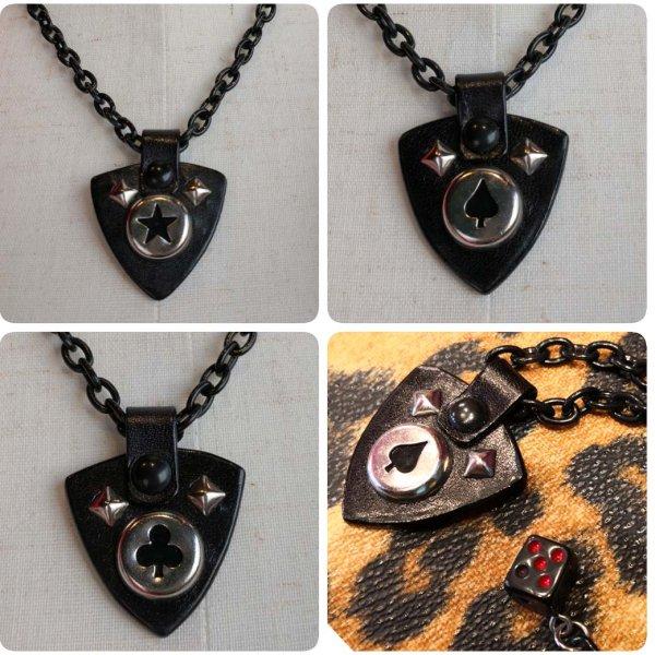 【THUNDER HONEY by King & Queen】ピック型レザートップネックレス(カラー:ブラック)