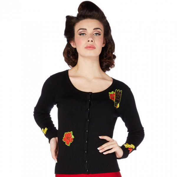【Voodoo Vixen】Emilia Black Tattoo Flower Cardigan