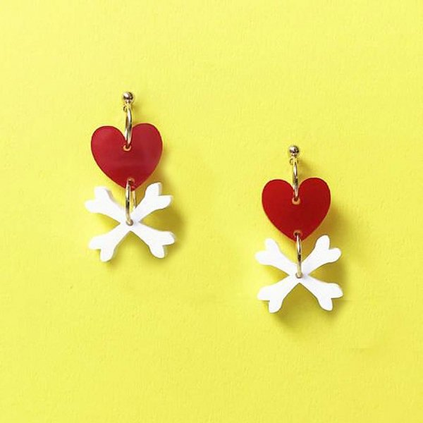 【CALL for DOLL】HEART BONES Pierce Red c-hb001