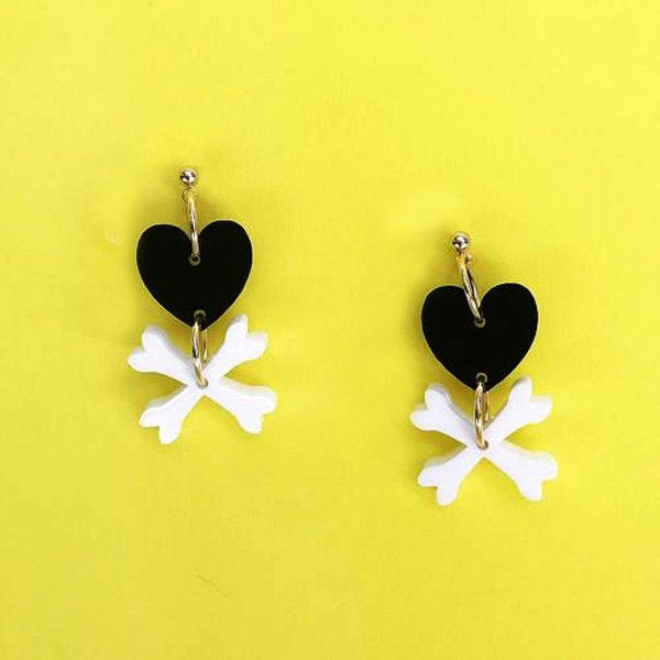 【CALL for DOLL】HEART BONES Pierce Black c-hb001