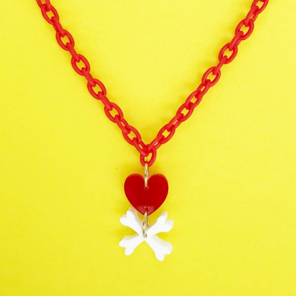 【CALL for DOLL】HEART BONES NECKLACE Red c-hb002