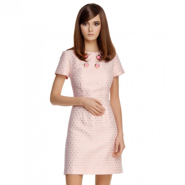 【Marmalade Shop】Fitted Circle Pattern Dress With Pink Gold Button