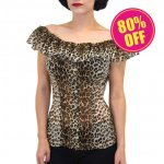 【LUCKY13】The CARMEN Off The Shoulder Blouse Leopard