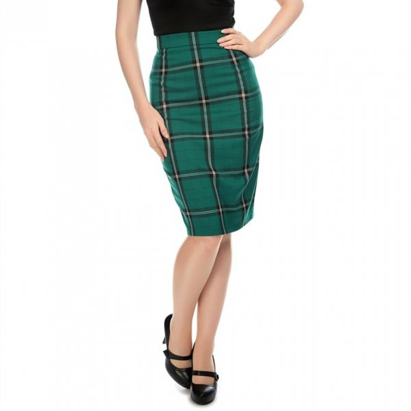 【Collectif】Polly Evergreen Check Pencil Skirt