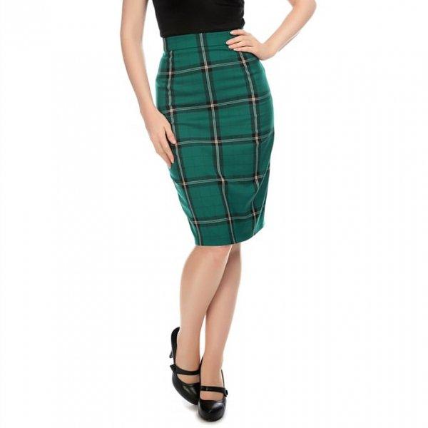 【Collectif】Polly Evergreen Check Pencil Skirt