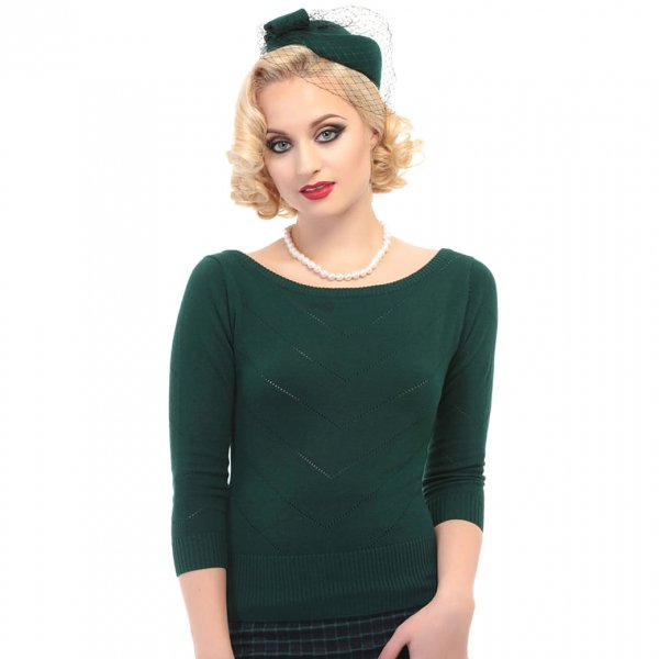 【Collectif】Bardot Boat Neck Jumper Green