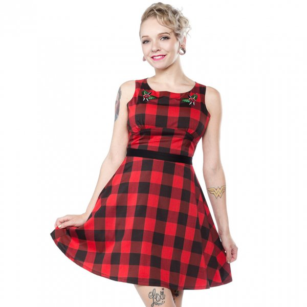 【SOURPUSS】FLOWER BUFFALO PLAID DRESS