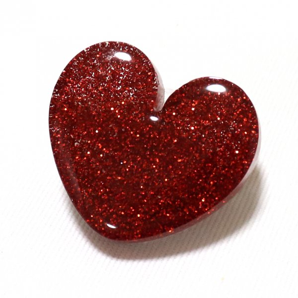 【King & Queen】Glitter Heart Brooch Red