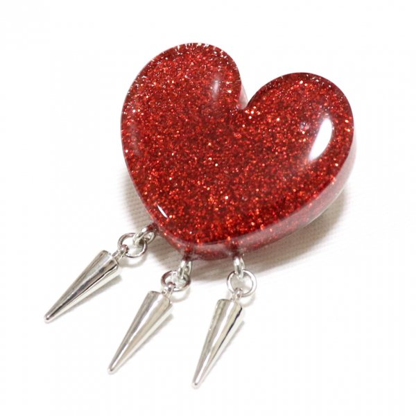 【King & Queen】Glitter Heart Spike Brooch Red