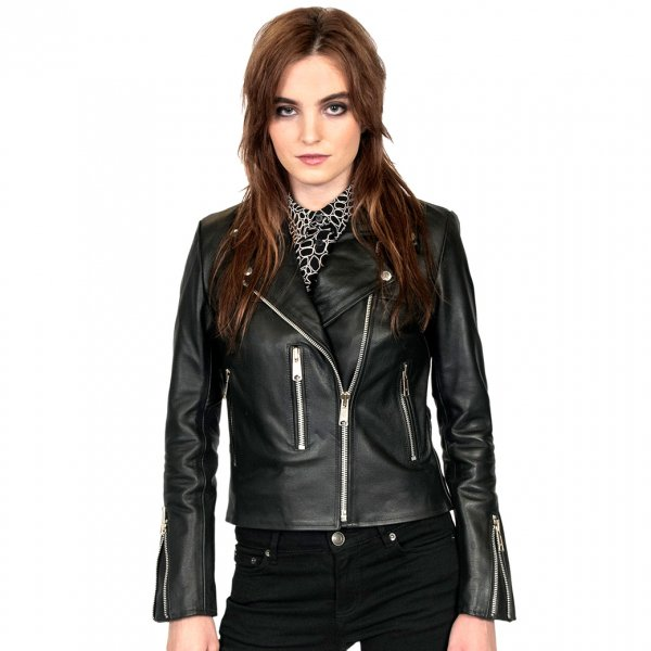【STRAIGHT to HELL】Bristol Black Leather Jacket with Nickel Hardware Classic Fit