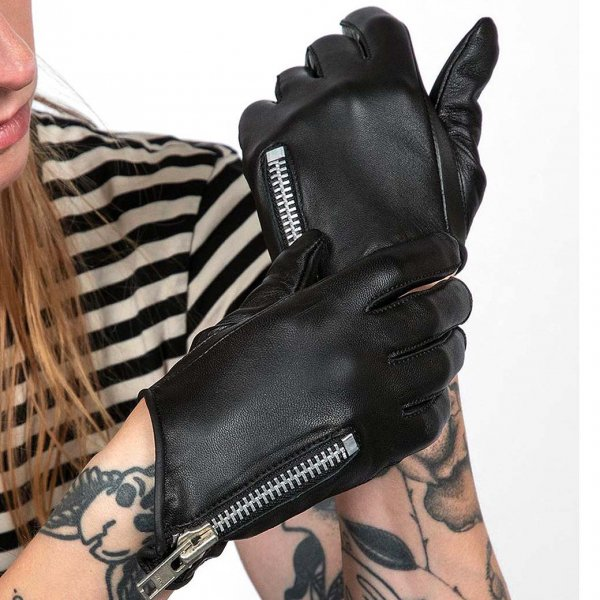 【STRAIGHT to HELL】Throttle Black Leather Gloves Women's