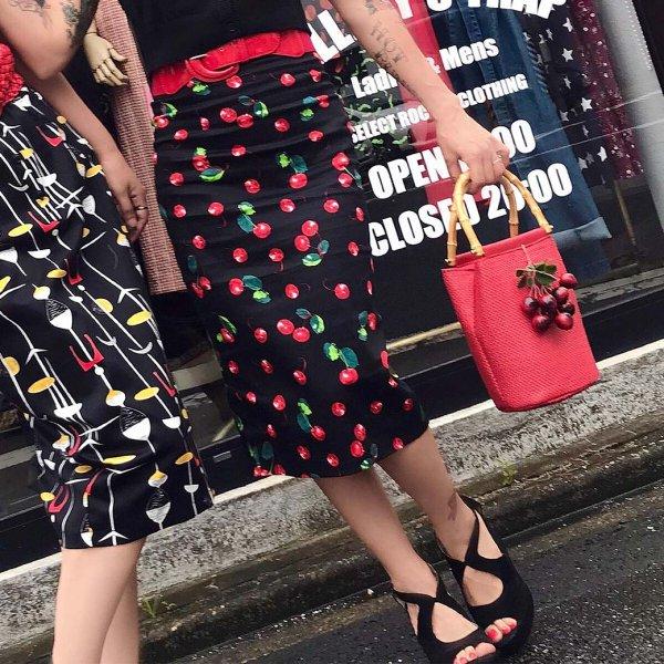 【Collectif】Fiona 50s Cherry Print Skirt チェリーペンシルスカート
