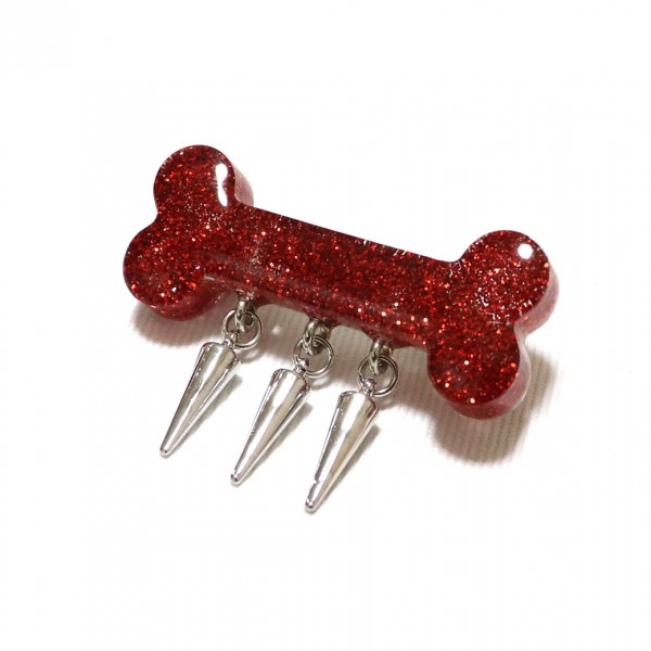 【King & Queen】Glitter Born Spike Brooch Red