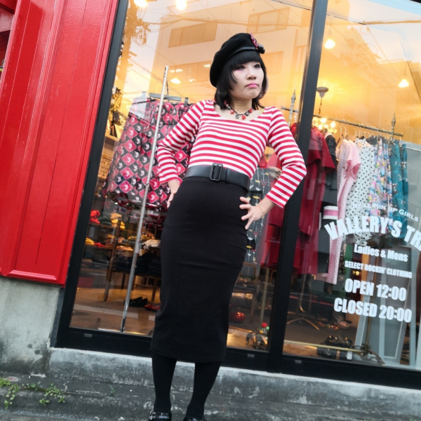 【Collectif】Manuela Striped Pencil Dress Red/White