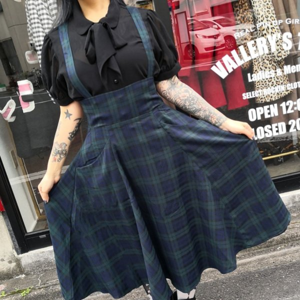 【Collectif】Mainline Alexa Blackwatch Check Swing Skirt