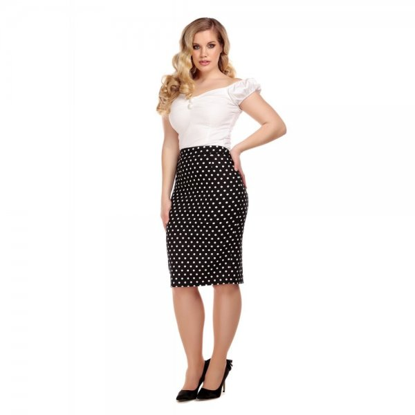 【Collectif】Polly Polka Dot Pencil Skirt