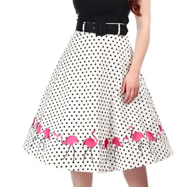 【collectif】Mainline Fancy Flamingo Swing Skirt