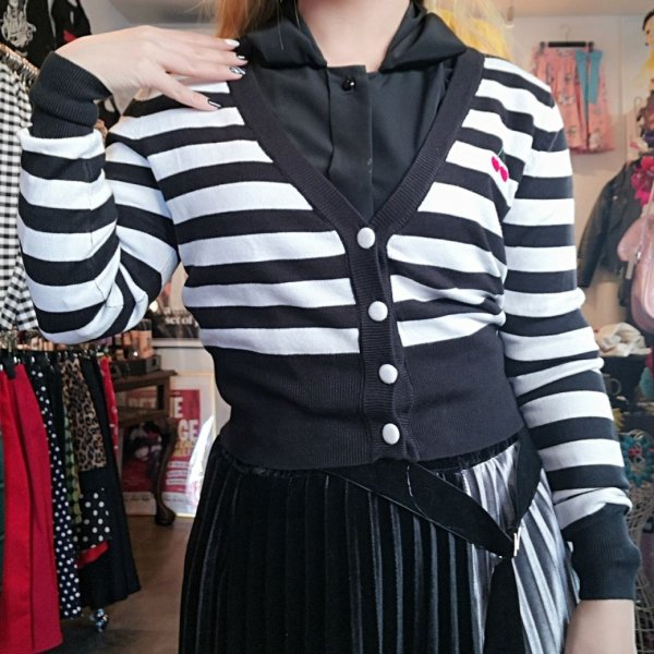 【collectif】Mainline Purdy Cherry Striped Cardigan