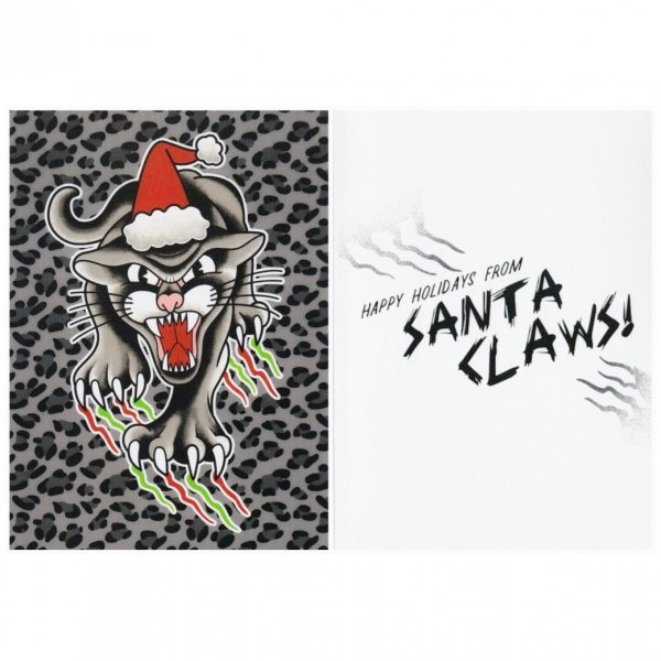 <img class='new_mark_img1' src='https://img.shop-pro.jp/img/new/icons11.gif' style='border:none;display:inline;margin:0px;padding:0px;width:auto;' />【SOURPUSS】Christmas Card Here comes Santa Claws クリスマスカード/キャットクロウ