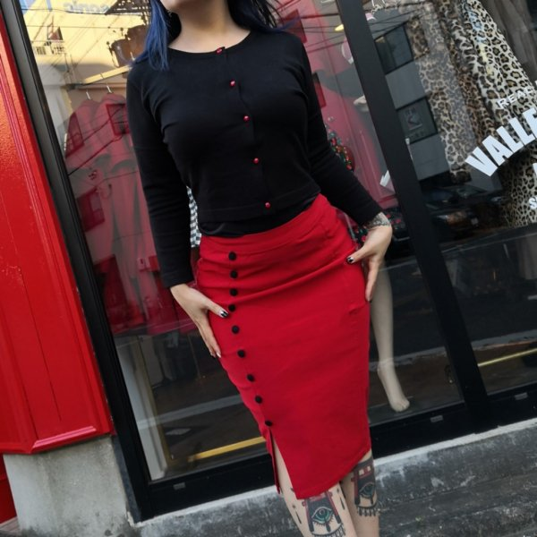 【SOURPUSS】FANCY PENCIL SKIRT RED