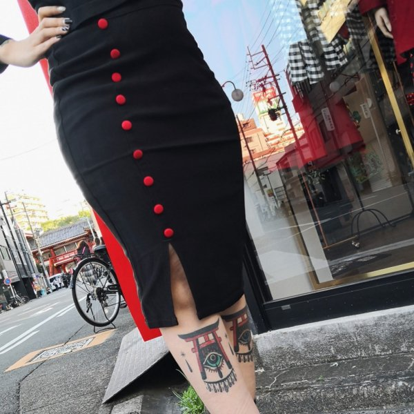 【SOURPUSS】FANCY PENCIL SKIRT BLACK