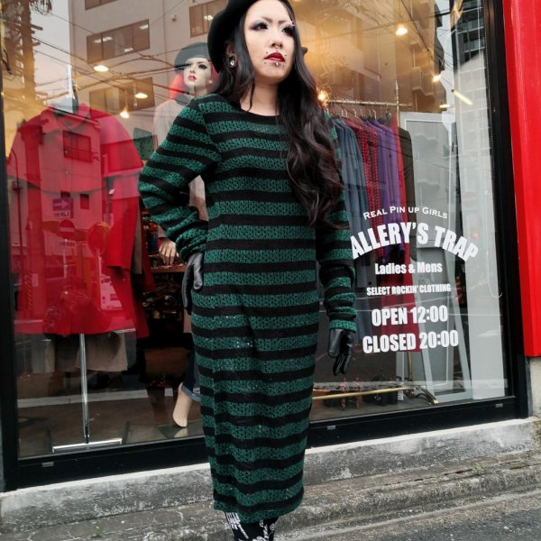 <img class='new_mark_img1' src='https://img.shop-pro.jp/img/new/icons1.gif' style='border:none;display:inline;margin:0px;padding:0px;width:auto;' />【JAWBREAKER】Forest Stripes Dress