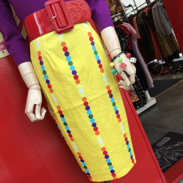 【Collectif】Polly Rainbow Polka Stripe Pencil Skirt