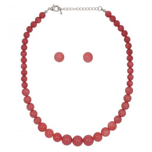 【Collectif】 Natalie Bead Necklace Set RED レッドビーズネックレス&ピアスセット