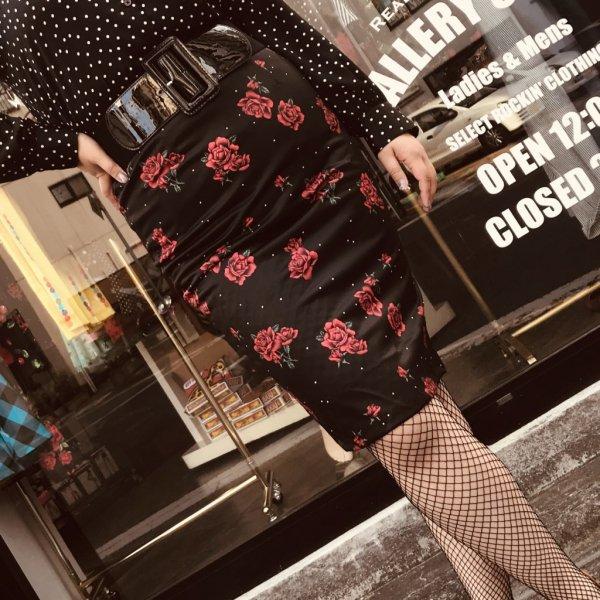 【Liquor brand】Roses skirt タイトローズスカート