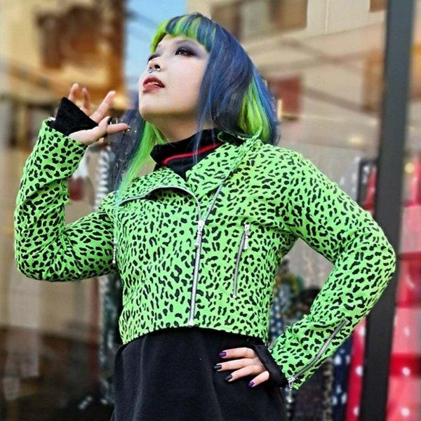 【Bonsai Kitten】Green Leopard Biker Jacket  グリーンレオパードバイカージャケット