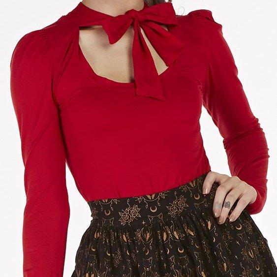 【Bonsai Kitten】Retro Red Pussybow Long Sleeve Top