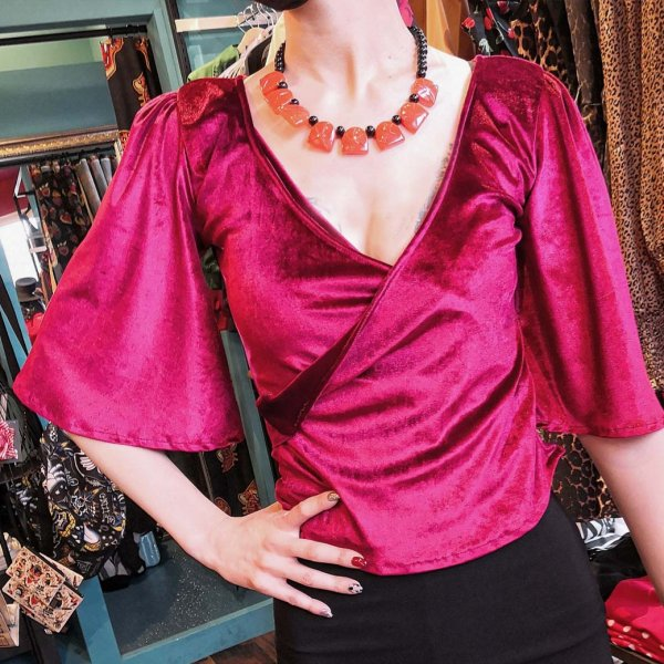 【Bonsai Kitten】Ruby Red Wrap Top