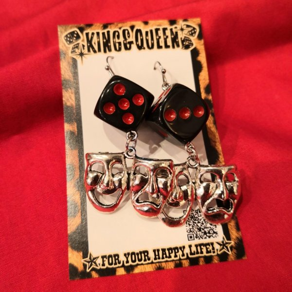 【King & Queen】TWO-FACE × DICE ピアス レッド