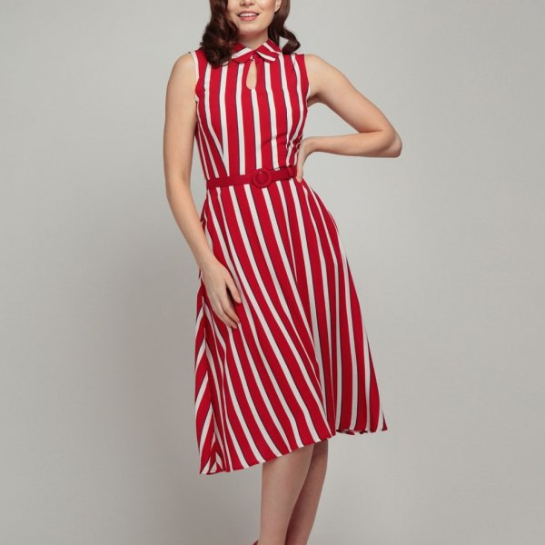 <img class='new_mark_img1' src='https://img.shop-pro.jp/img/new/icons1.gif' style='border:none;display:inline;margin:0px;padding:0px;width:auto;' />【Collectif×Modcloth】Adelaide Yacht Stripe Swing Dress
