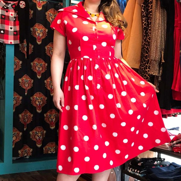<img class='new_mark_img1' src='https://img.shop-pro.jp/img/new/icons1.gif' style='border:none;display:inline;margin:0px;padding:0px;width:auto;' />【Collectif】Judy Painted Polka Dress ポルカドットフレアーワンピース