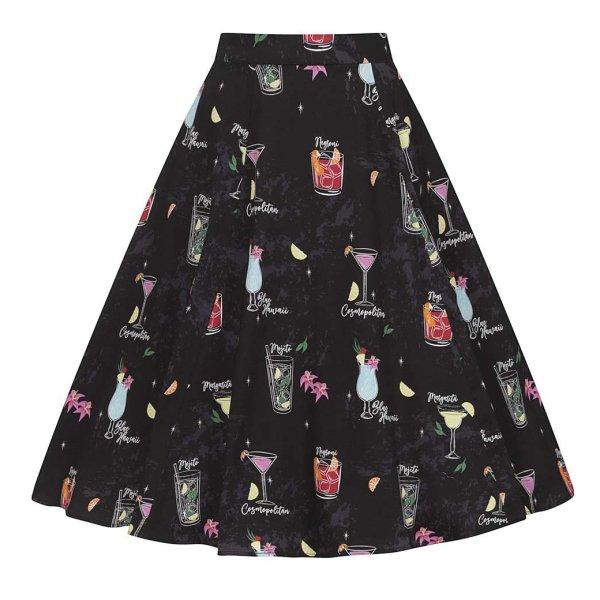 【Collectif】Cocktail Menu Swing Skirt カクテル柄スウィングスカート