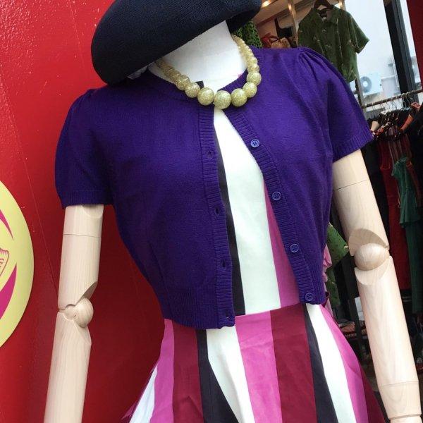 クロップドカーディガン ラウンドネック 半袖 purple