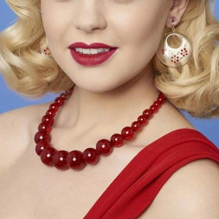 <img class='new_mark_img1' src='https://img.shop-pro.jp/img/new/icons1.gif' style='border:none;display:inline;margin:0px;padding:0px;width:auto;' />【Splendette】 Red Glitter Bead Necklace グリッターレッドビーズネックレス