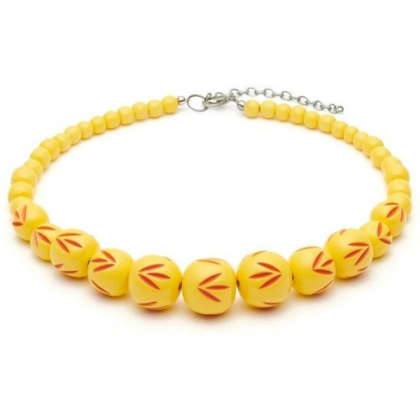 <img class='new_mark_img1' src='https://img.shop-pro.jp/img/new/icons1.gif' style='border:none;display:inline;margin:0px;padding:0px;width:auto;' />【Splendette】Sunrise Carved Bead Necklace サンライズイエロー ビーズネックレス
