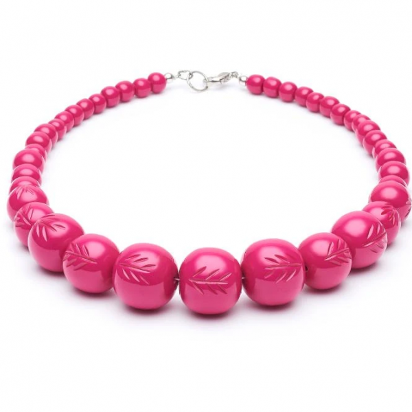 【Splendette】Fakelite Beads Iris Pink Heavy Carve アイリスピンクビーズネックレス