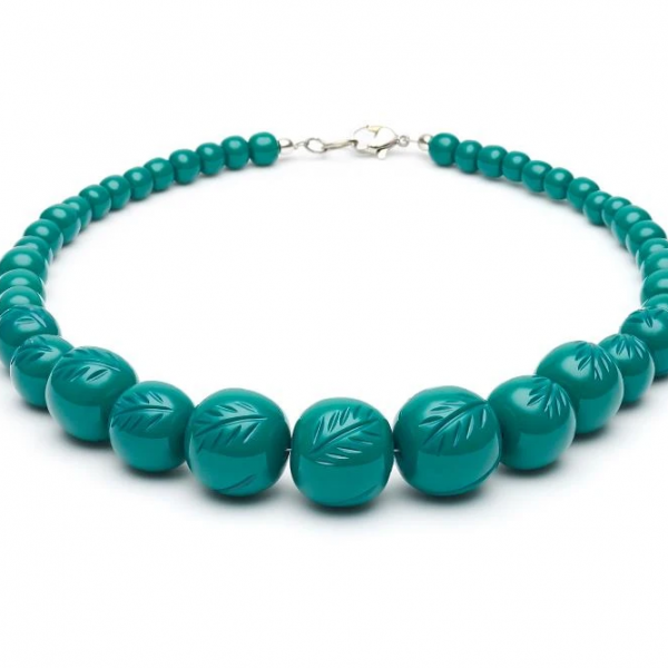<img class='new_mark_img1' src='https://img.shop-pro.jp/img/new/icons1.gif' style='border:none;display:inline;margin:0px;padding:0px;width:auto;' />【Splendette】Fakelite Beads Jade Green Heavy Carve  ジェイドグリーンビーズネックレス